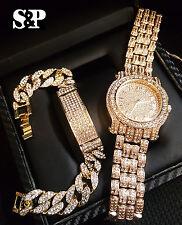 Men Hip Hop Iced Out Gold PT Simulated Diamond WATCH & Cuban Bracelet Gift Set