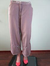 Jensen Womens Sequin Trim Beige Linen Casual Crop Trousers Pants sz 16 XL G96