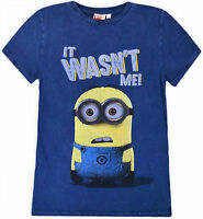 Boys New Minions Top Kids Short Sleeve Cotton Blue Jeans Look T-Shirt Age 3-10 Y