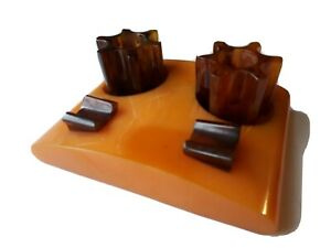 ART DECO Butterscotch dark amber CATALIN PHENOLIC BAKELITE DESK HOLDER INKWELL