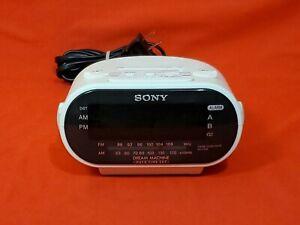 White Sony Dream Machine ICF-C318 FM/AM Dual Alarm Clock Radio Tested Works