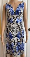 Elie Tahari Womens Dress Size 4 Floral & Lace Printed Patterned Nessa Blue White