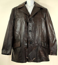 True Vintage Mens Genuine Leather Jacket Button Sz 42 Xl Brown Coat Lined 70s 80