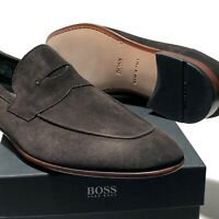 Hugo Boss ITALY Dark Brown Suede Leather Penny Loafers Dress Shoes Men's Casual