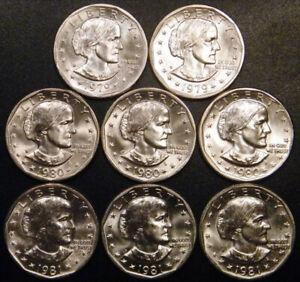 1979 PD 1980 PDS 1981 PDS Susan B Anthony 8-EA $1 Coins BU VERY RARE US Mint Set