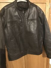 Brown Leather Biker Jacket M/40