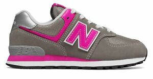 New Balance Kid's 574 Core Big Kids Female Shoes Grey with Pink