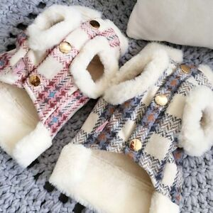 Winter Dog Clothes Plush Warm Coat Clothes with Buckle for Small Medium Pets