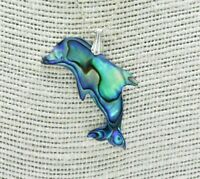 Vintage Sterling Silver necklace Abalone Dolphin Art deco 17 inch Gift #N157