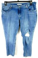 711 blue denim embroidered belt loop plus size distressed skinny jeans 20W