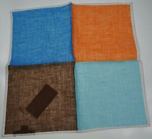 RODA Quadrant Print Linen Pocket Square Pochette ~ Made in Italy