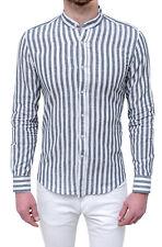 Shirt 100% linen man Diamond Casual white grey striped slim fit korean