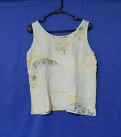 Tommy Bahama 100% Silk Blue Tank Top & Shorts Set Size Large Palm Trees