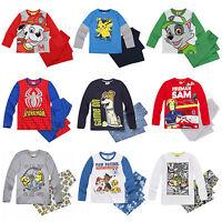Boys Pyjamas Long Sleeve Pokemon Paw Patrol Minions Age 2-12 Official Cotton New