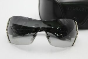 Rare BVLGARI 651-B 939BG Swarovski Crystal Black Shield Sunglasses & Case