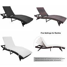 Adjustable Patio Pool Garden Chaise Lounge Sofa Chair Recliner Furniture Cushion