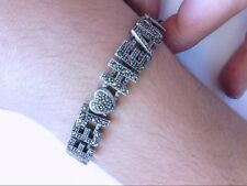"Special Vintage Handmade ""Sweet Heart"" Love SS 925 Marcasite Bracelet.BUY NOW!"