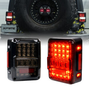 Xprite LED Tail Lights Rear Brake Reverse Turn Signal for 07-18 Jeep Wrangler JK