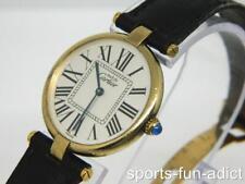MUST DE CARTIER VERMEIL Plaque Argente Sterling Black Leather Watch 590003