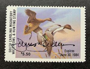 WTDstamps - 1983 SOUTH CAROLINA - State Duck Stamp - Mint OG NH ARTIST SIGNED