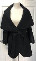 Kobi Halperin Coat Size M Black With Lace Appliqué On Sleeves