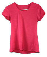 Athleta Women's Small Pink Striped Yoga Work-Out Sport Stretch Cap Sleeve Shirt