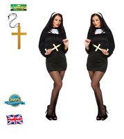SEXY NUN COSTUME & MONK CROSS Ladies Religious Fancy Dress Hen Party Outfit
