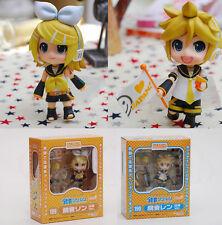 Anime Kagamine Rin + Len 2pcs set Nendoroid 189 190# 10cm Action Figure Gift NIB
