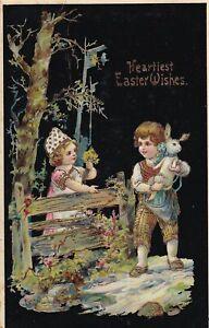 Heartiest Easter Wishes Postcard Vintage Children Rabbit Gold