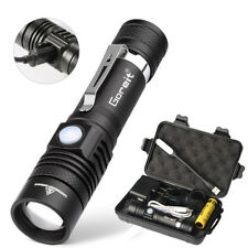 10000lm USB Rechargeable T6 LED Tactical Flashlight Zoomable Torch Shadowhawk