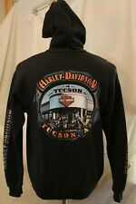 Harley Davidson Full Zip Up Hoodie Sweater  Medium  Front Back Logo TUCSON AZ