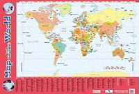Map of The World Poster/  . Educational A2 Size