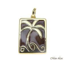 Koa Wood Hawaiian Scroll Vertical Palm Tree Yellow Gold Brass Reversible Pendant