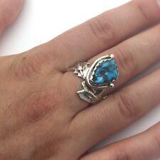 Signed Burt George Navajo Sterling Silver Bisbee Blue Turquoise Custom Ring !