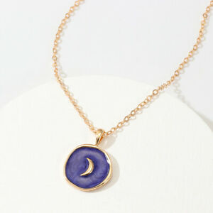 Fashion Europen 18K Gold Oil Drop Blue Moon Round Pendant Necklace Jewelry