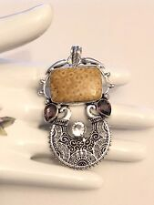 Sterling Silver.925 Lavish Fossil Coral, Amethyst and White Topaz Pendant