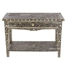 Handmade Bone Inlay Floral With One Drawer Console Table