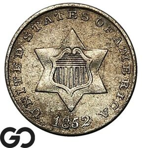 1852 Three Cent Silver, Choice AU Collector Type Coin