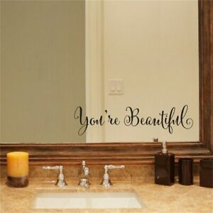 1 Set Wall Stickers With You're Beautiful Letters Living Room Wall Mirror Decor