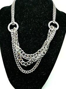 Pianegonda Choker Necklace Sterling Silver Women's Multi Chain .925 Italy 16''