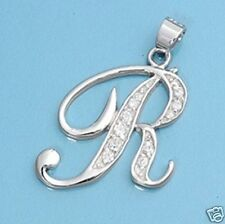 R Letter Alphabet Initial CZ Pendant Sterling Silver 925 Best Price Jewelry Gift
