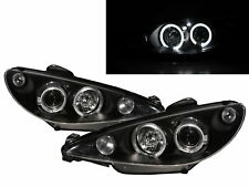 206/206 CC 2002-2009 FACELIFT LED Halo Projector Headlight Black for PEUGEOT LHD