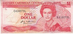 EASTERN CARIBBEAN Central Bank $1 DOLLAR 1985 - 1988 QEII BANKNOTE MONEY