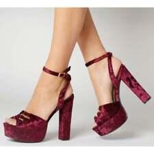 Ladies Womens Crushed Velvet Chunky Block High Heel Platform Party Sandals Shoes
