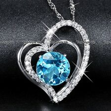 TWIN cuori diamante blu rotondo cristallo Collana Amore Regalo Per Lei Mum Donna WE1