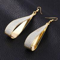 Long Drop Dangle Earrings 14k Yellow Gold Plated Crystal Cut Leverback