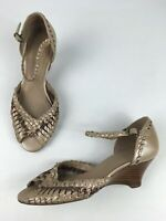 WOMENS K BY CLARKS METALLIC BROWN WOVEN LEATHER ANKLE STRAP WEDGE SANDALS UK 5