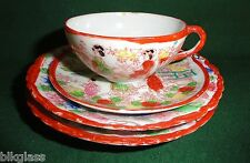 Oriental Asian Scene Made Japan 4 Piece China 2 Plates Tea Cup Saucer Red Rim