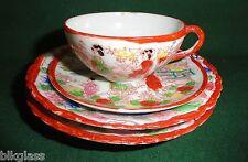4 Piece Oriental Scene China 2 Plates Tea Cup Saucer Japan Red Rim Teacup Time