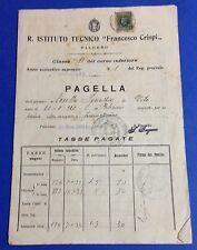 22392 Pagella Scolastica - a. 1932-33 - R.Ist.Tecnico F.Crispi Palermo fascismo